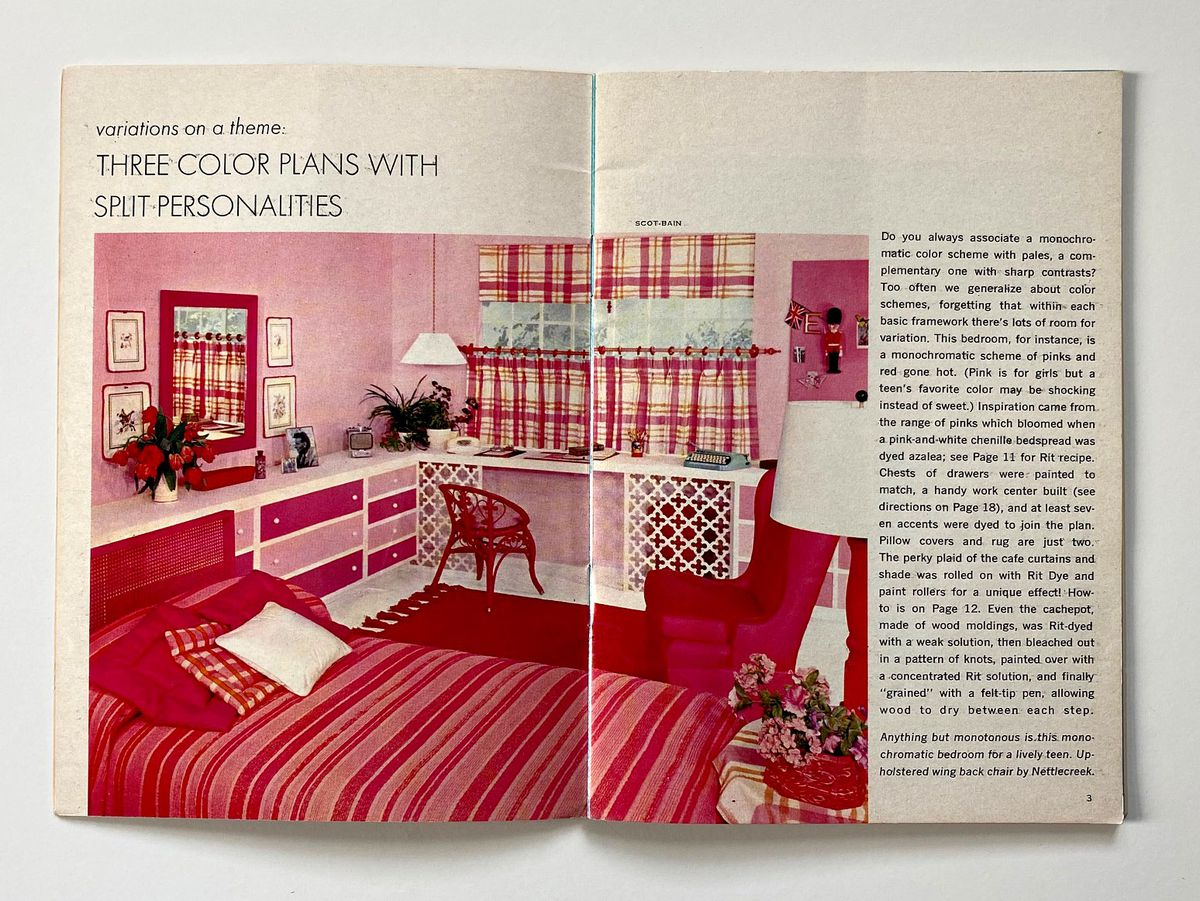 A bedroom done up in a variety of pinks and reds.