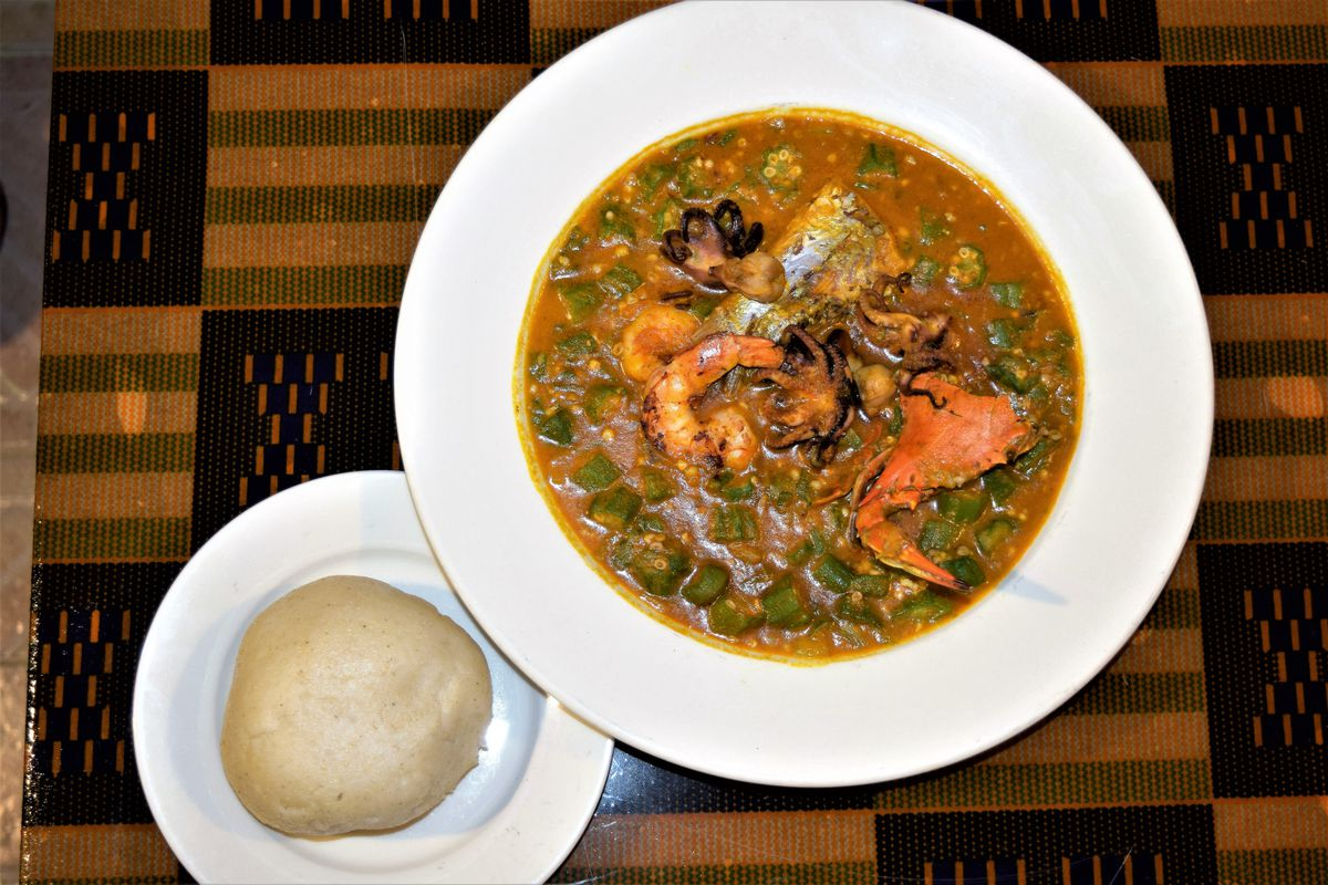 A new seafood okra stew and fufu at Appioo