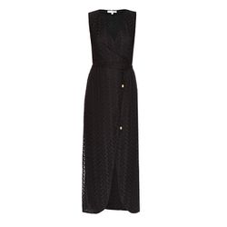 A beachy wrap dress with a high slit is great for cool summer nights.