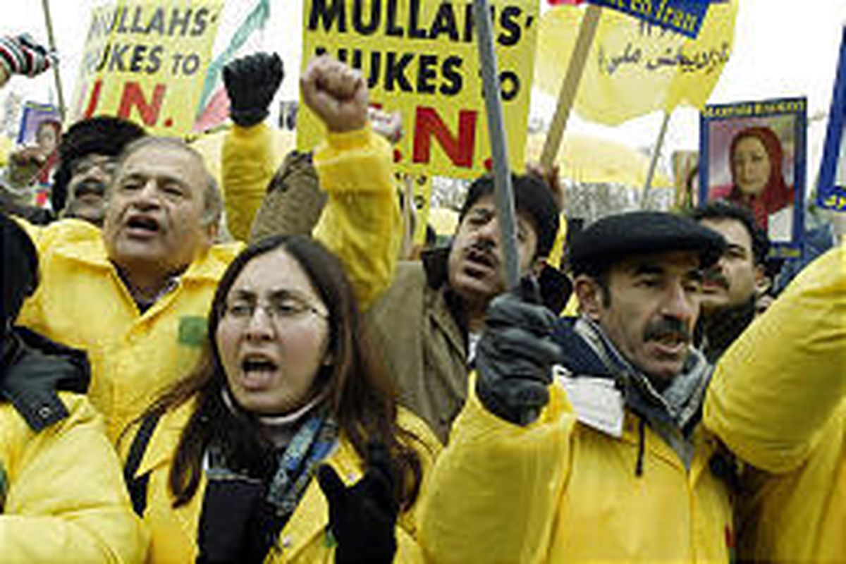 Supporters of the opposition national Council of Resistance of Iran demonstrate on Thursday in front of International Atomic Energy Agency building in Vienna, Austria.