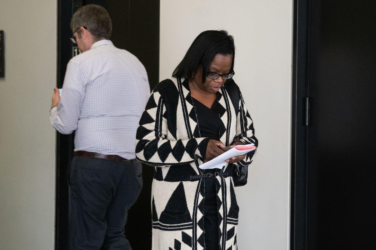 Lisa Livingston leaving housing court at the Daley Center on Oct. 23.