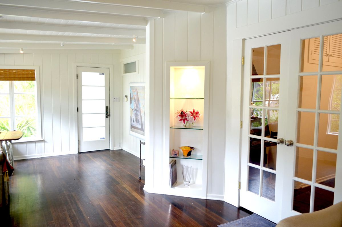 View of living room French doors