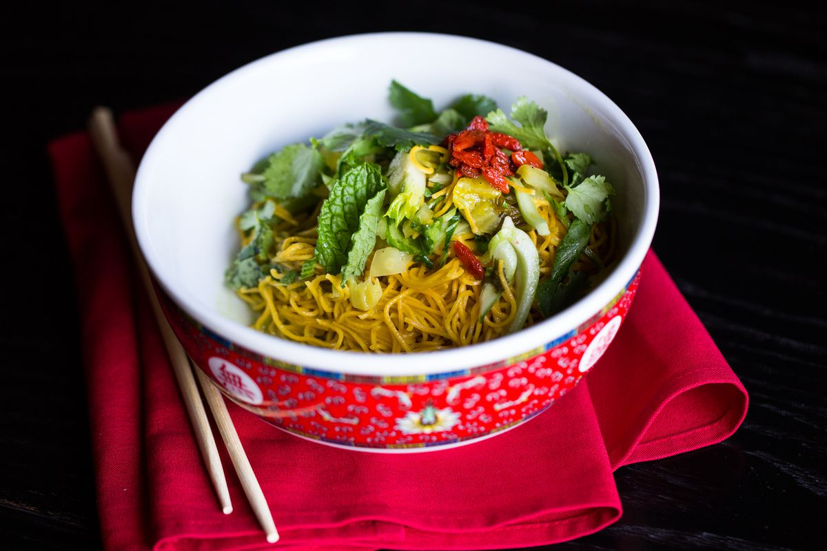 Cold sesame noodles from Old Thousand's vegan menu