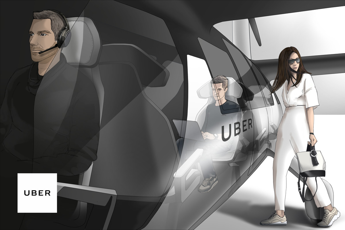A photo of a prototype of Uber's vision of unmanned flying cars