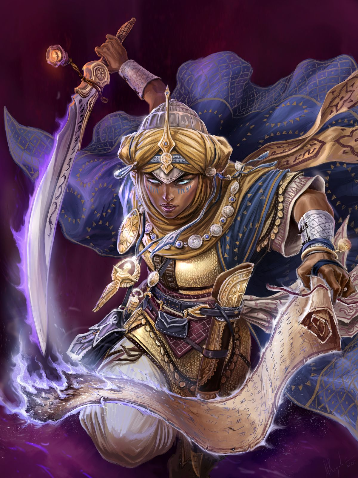 A woman dressed in golden armor with flowing blue ropes and a curving sword leaps out of the frame, a charged paper scroll burning in her hand.