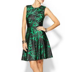 """<b>Pim + Larkin</b> Brocade Fit & Flare Dress in Emerald/Black, <a href=""""http://piperlime.gap.com/browse/product.do?cid=1003264&vid=1&pid=961393002"""">$119</a> at Piperlime"""