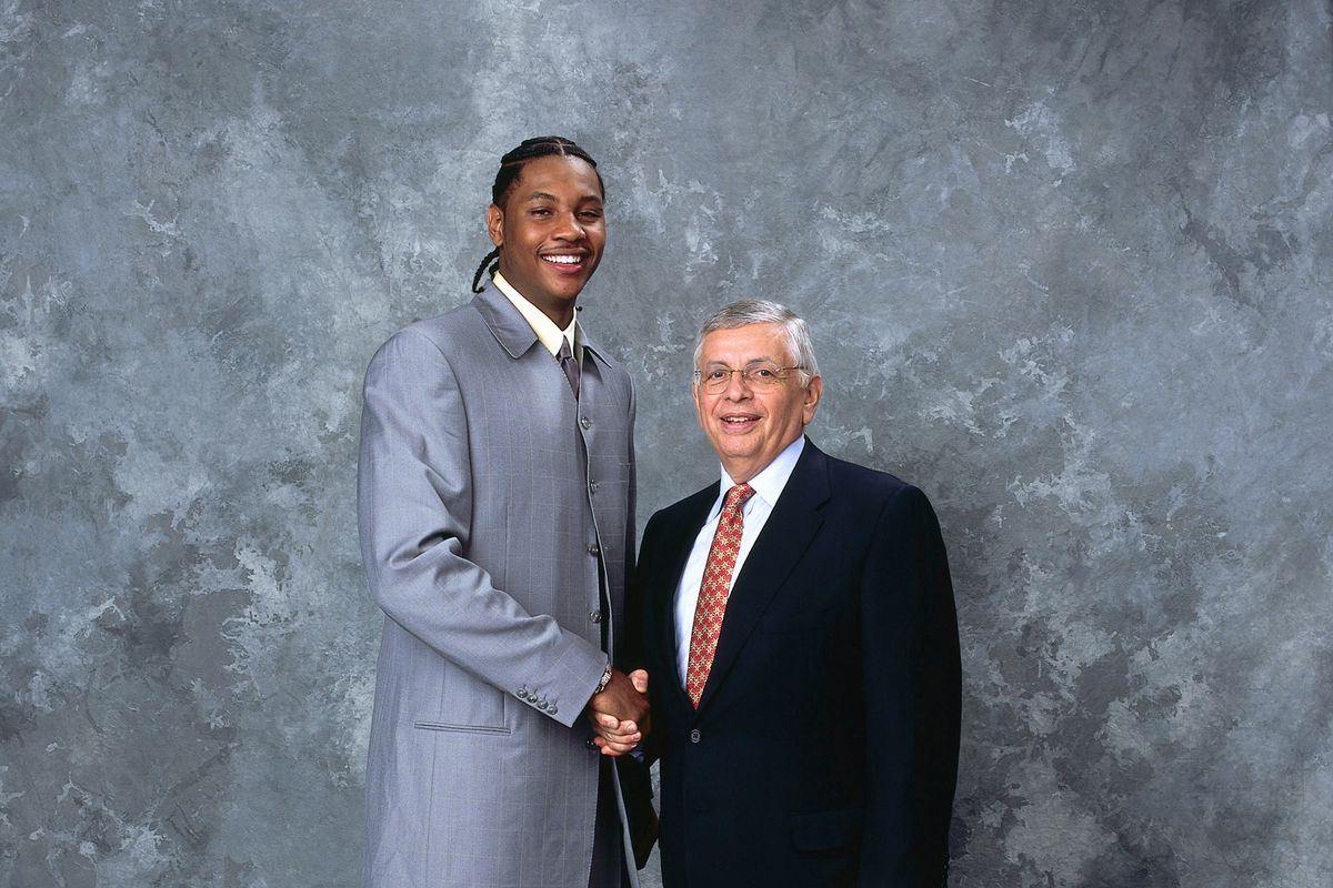 Carmelo Anthony Poses With Commissioner David Stern