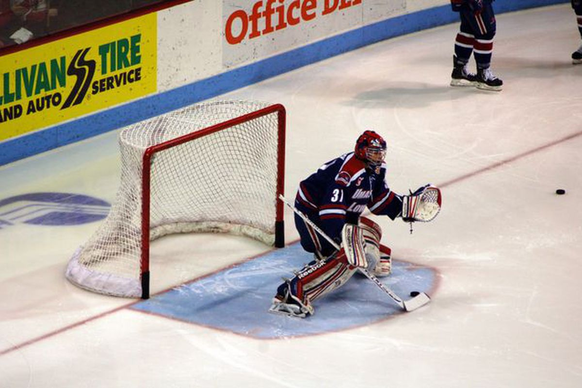 UML rookie Connor Hellebuyck made stops on all 25 BU shots as he earned his third shutout of the year.