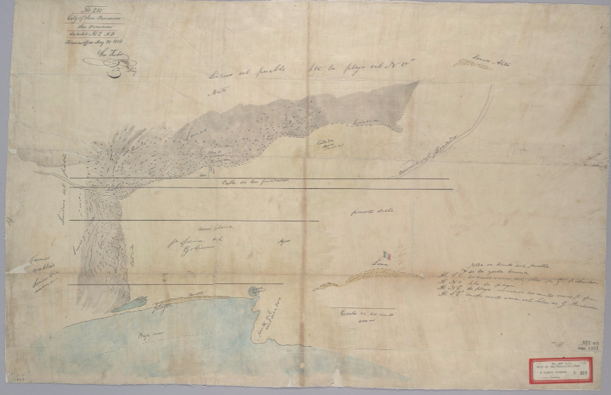 William Richardson's 1835 map of Yerba Buena with Calle de la Fundacion as the only street