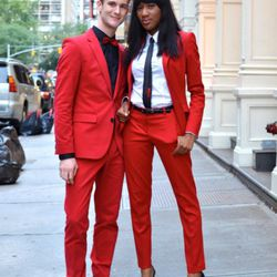 On the corner of Greene and Prince Streets. Tomi, right, is wearing a Hugo Boss suit.