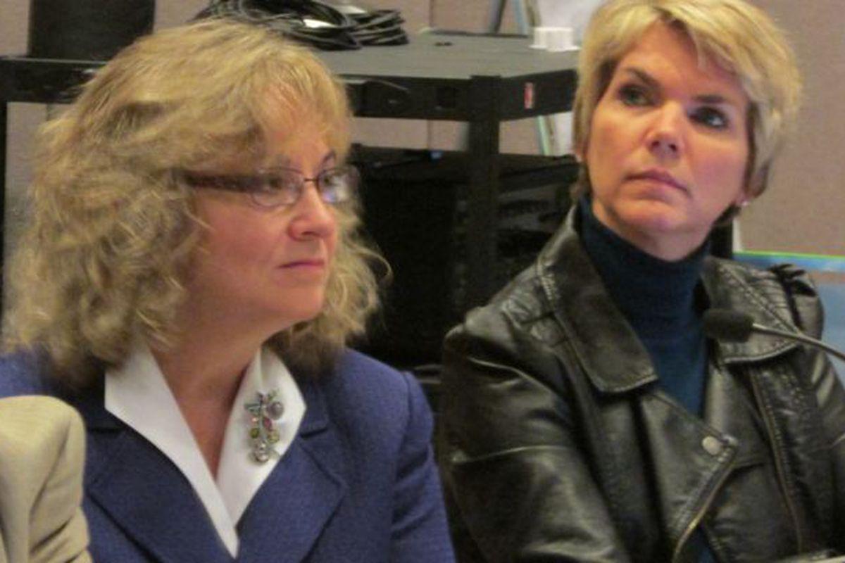 State board member Cari Whicker, right, spoke in favor of proposed new social studies standards. (Scott Elliott)