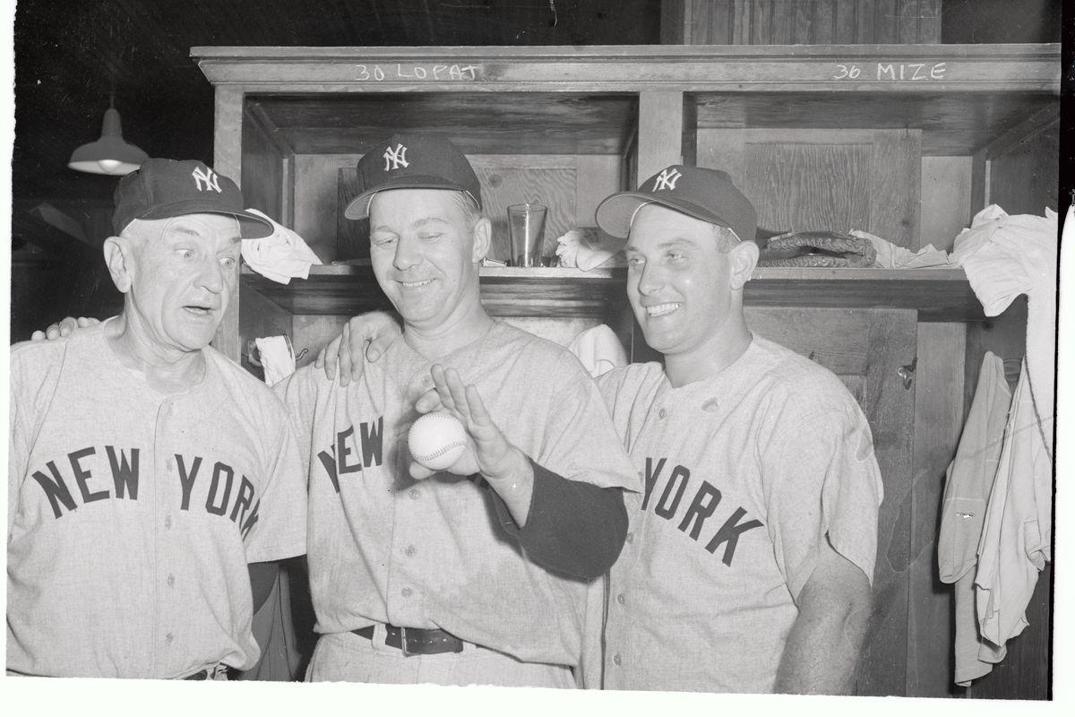 Casey Stengel, Ed Lopat and Gene Woodling All in Locker Room
