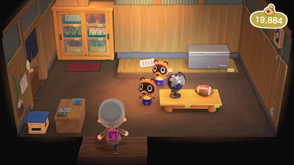 Timmy and Tommy in the Nook's Cranny store of Animal Crossing New Horizons
