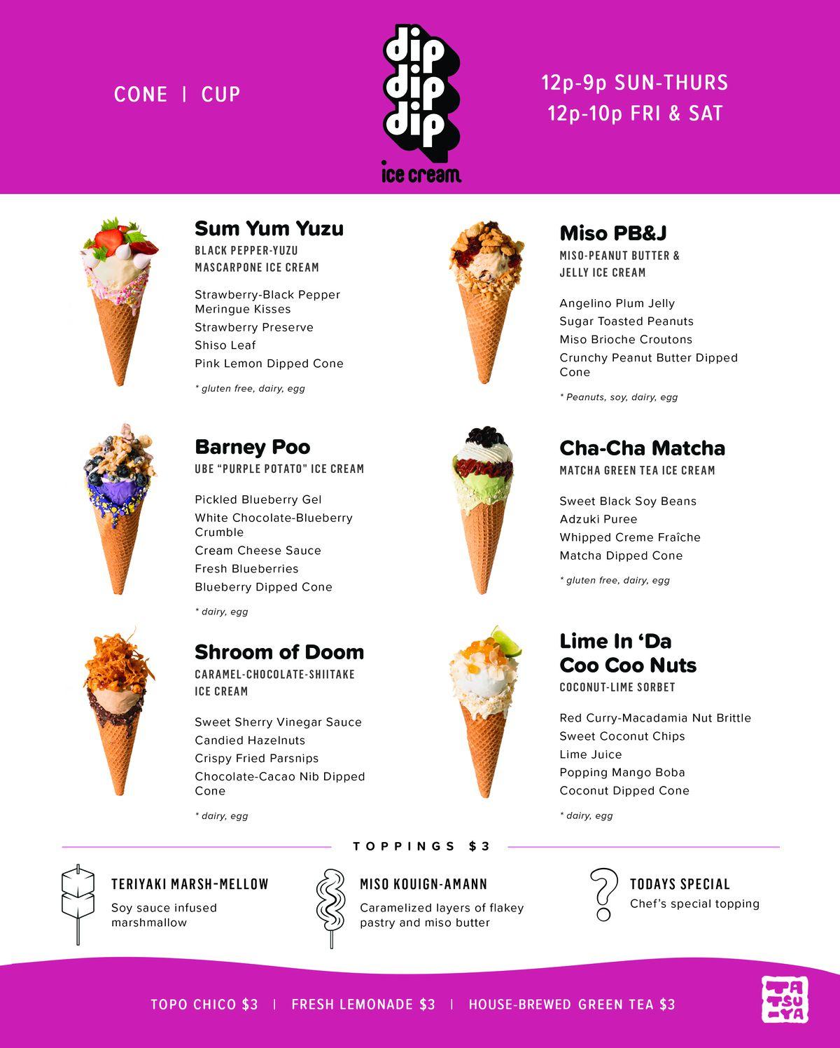 The menu at DipDipDip Ice Cream