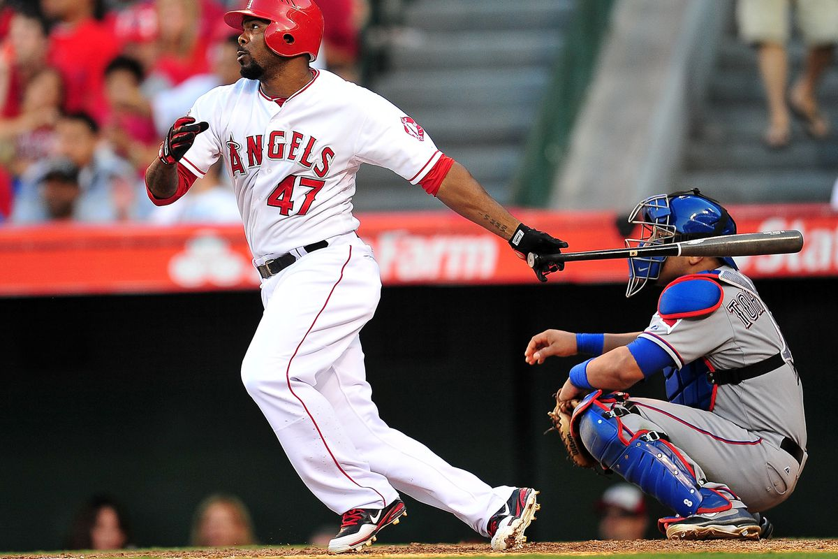 July 22, 2012; Anaheim, CA, USA; Los Angeles Angels second baseman Howard Kendrick (47) hits a double in the sixth inning against the Texas Rangers at Angel Stadium. Mandatory Credit: Gary A. Vasquez-US PRESSWIRE