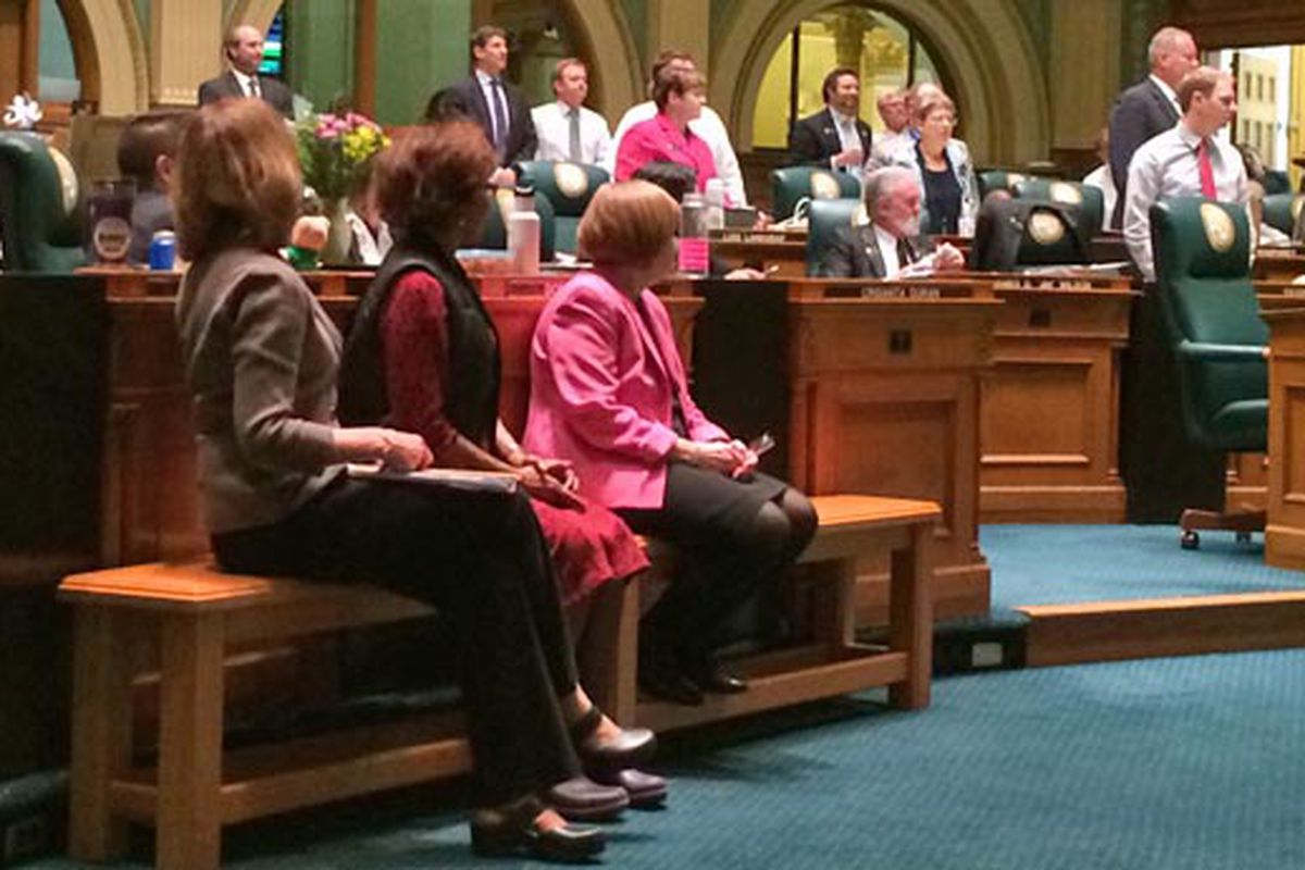 Testing bill sponsor Rep. Millie Hamner (left) watches as House takes a standing vote on an amendment.