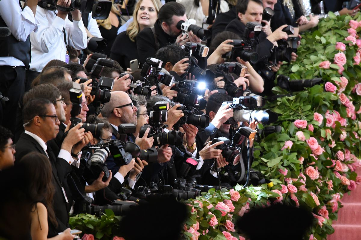 Photographers line up to photograph celebrities on the red carpet at the at the 2019 Met Gala at the Metropolitan Museum of Art.