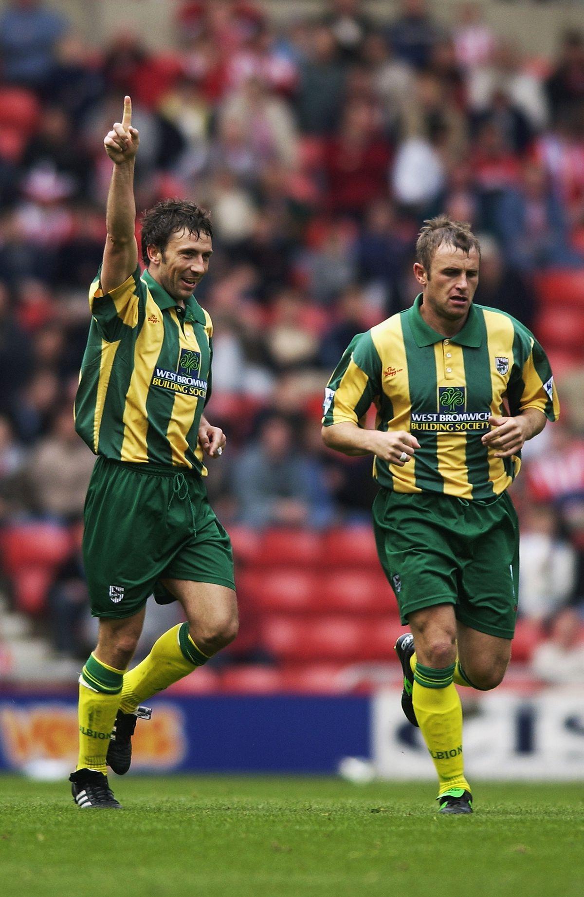 Derek McInnes of West Bromwich Albion celebrates his first goal