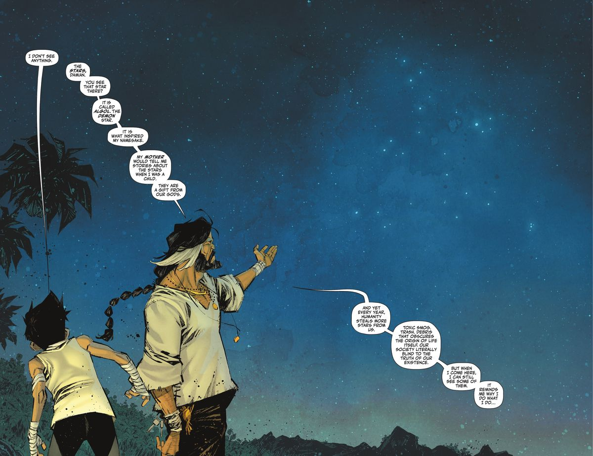 Ra's al Ghul gestures at the milky way above his remote island home as he explains to Damian Wayne/Robin that humanity's pollution of the skies is one of the reason he seeks to cull the population in Robin #4 (2021).
