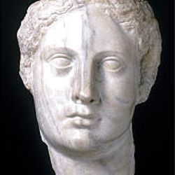 """""""Head of Isis,"""" 280-240 B.C. (marble, 11 1/2 inches)."""