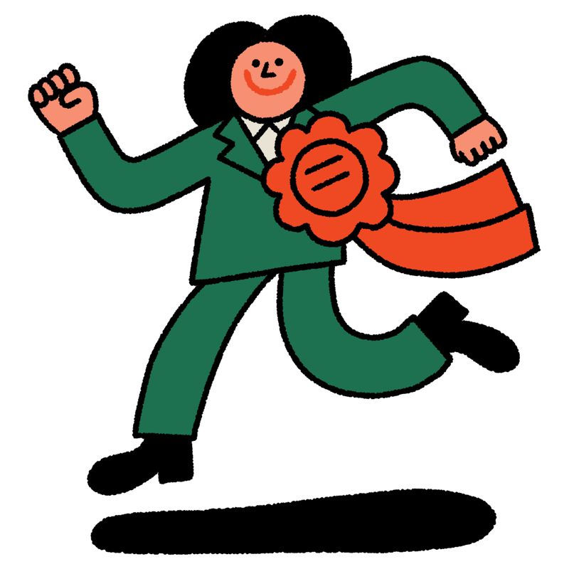 A person in a green pantsuit with a large red ribbon attached to their lapel jets across a white background. This is an illustration.