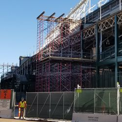 Scaffolding on west side of ballpark