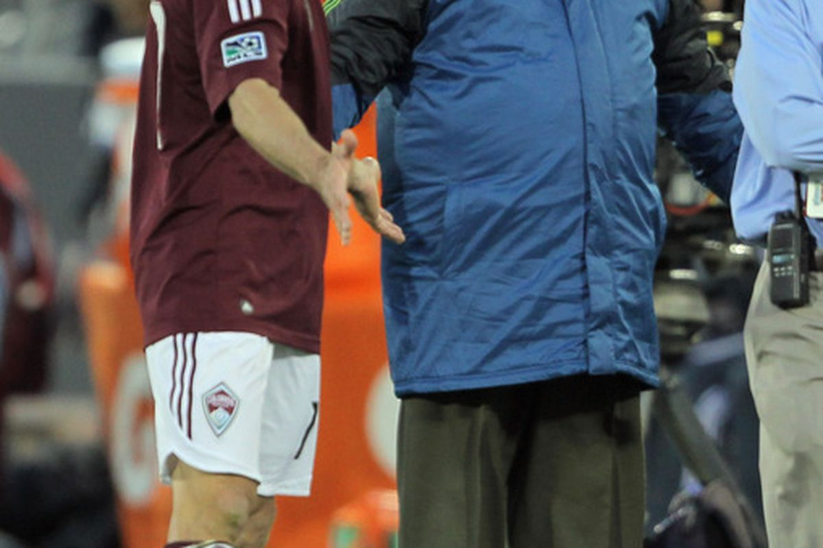 Brian Mullan won't be traveling with the Colorado Rapids for their game against the Seattle Sounders, the first time the team's have played since Mullan broke Steve Zakuani's leg witha  tackle. (Photo by Doug Pensinger/Getty Images)