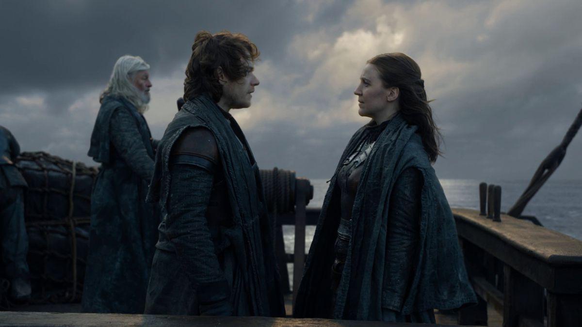 Yara and Theon Greyjoy on the boat
