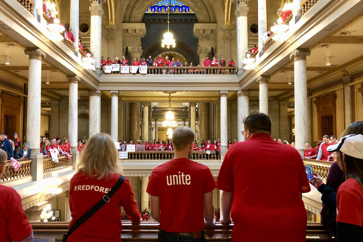 More than 1,000 teachers and their supporters from across Indiana gathered at the state Capitol on Saturday, March 9, 2019 at a rally hosted by the Indiana State Teachers Association.
