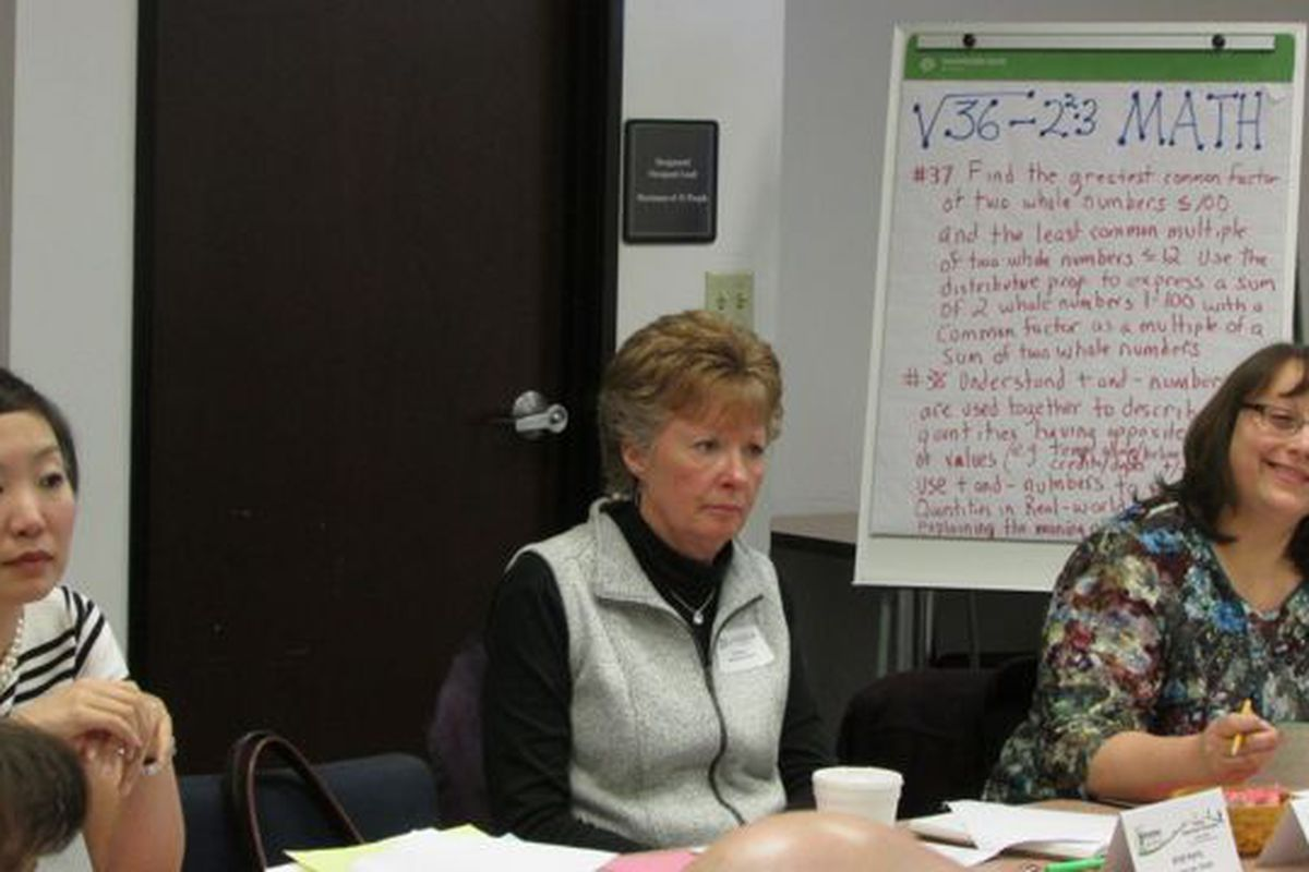 Members of a committee work on Indiana's new math standards at a meeting on Feb. 13. (Scott Elliott)