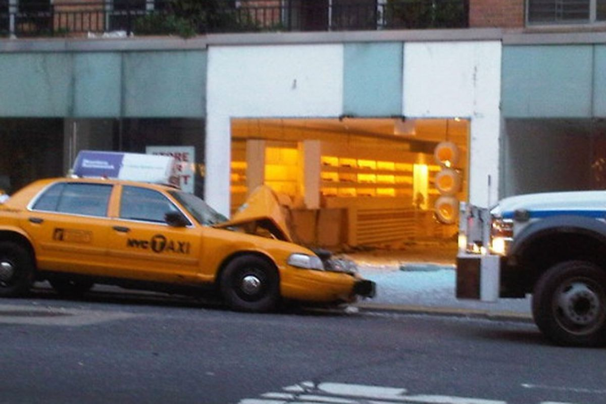 """Image via <a href=""""http://dnainfo.com/20100623/upper-east-side/cab-slams-into-oliver-peoples-store-on-madison-avenue"""">DNA Info</a>"""