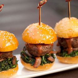"""Meyer Angus Sliders at <a href=""""http://f.curbed.cc/f/CityEats_EDC_SP_062812_CoCoSala""""><b>Co Co. Sala</b></a> with housemade molé sauce, sautéed spinach and wild mushrooms."""