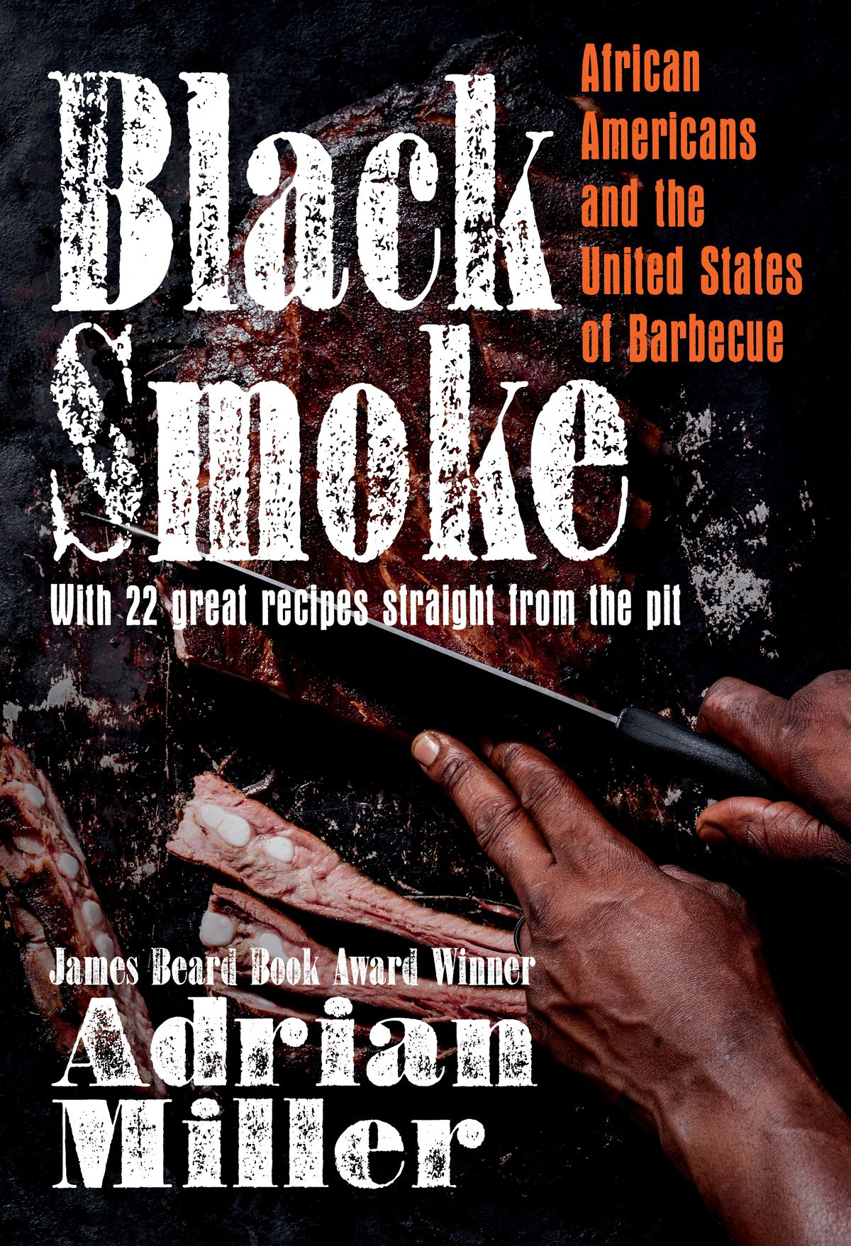 """The book cover for """"Black Smoke"""" depicting a pair of Black hands slicing barbecued meat"""