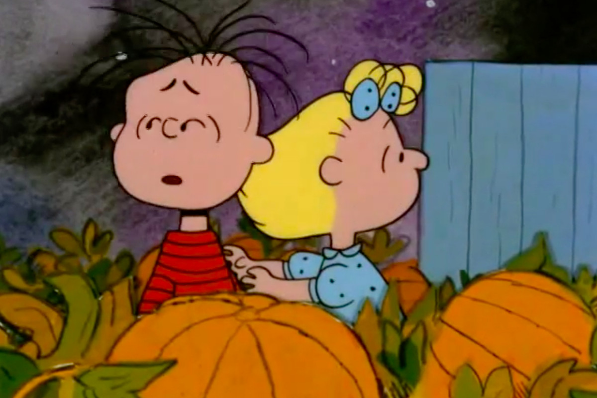 Linus and Sally think they hear the Great Pumpkin rising out of the pumpkin patch.