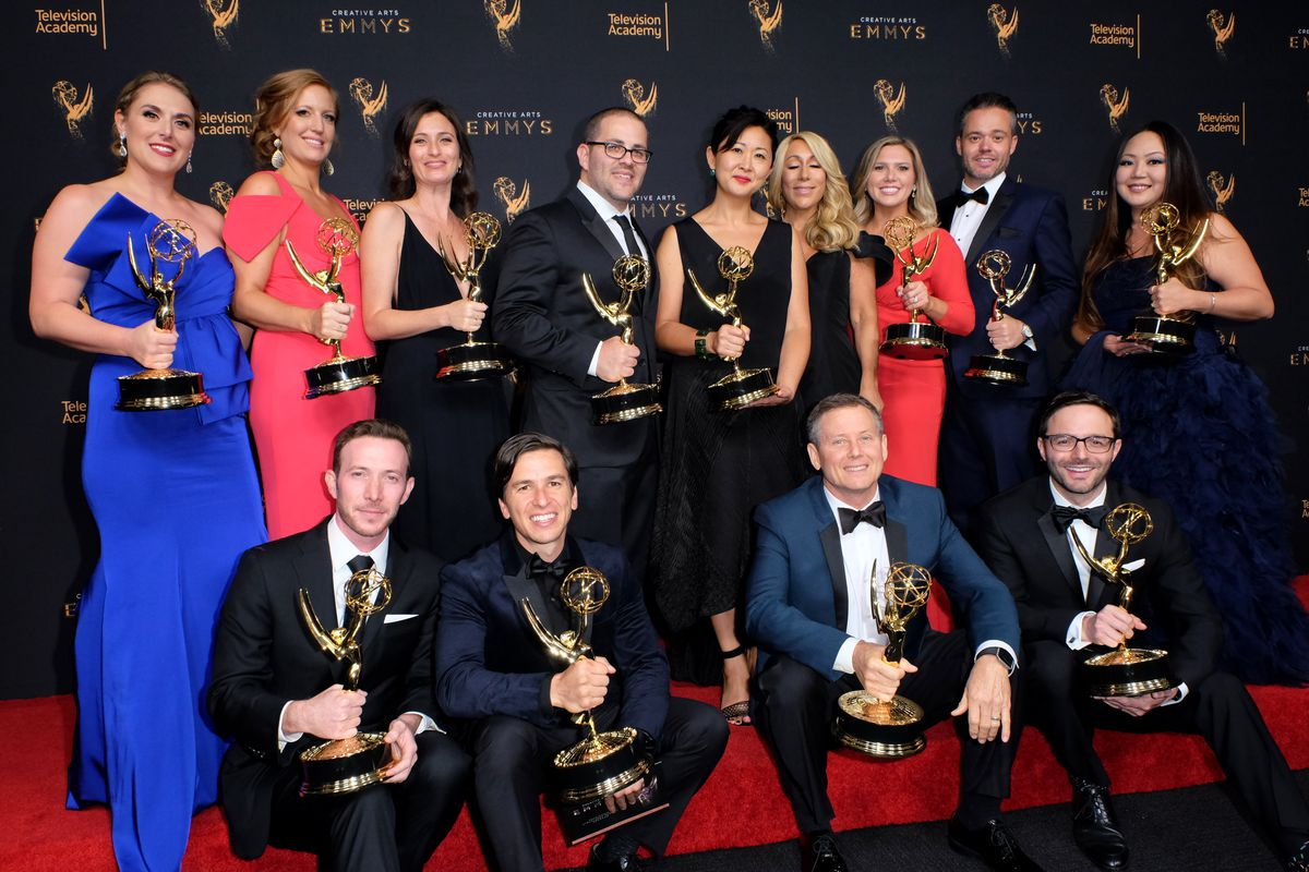 Television personality Lori Grenier (left) and the team of 'Shark Tank' pose in the pressroom during the 2017 Creative Arts Emmy Awards at Microsoft Theater on September 9, 2017 in Los Angeles, California.