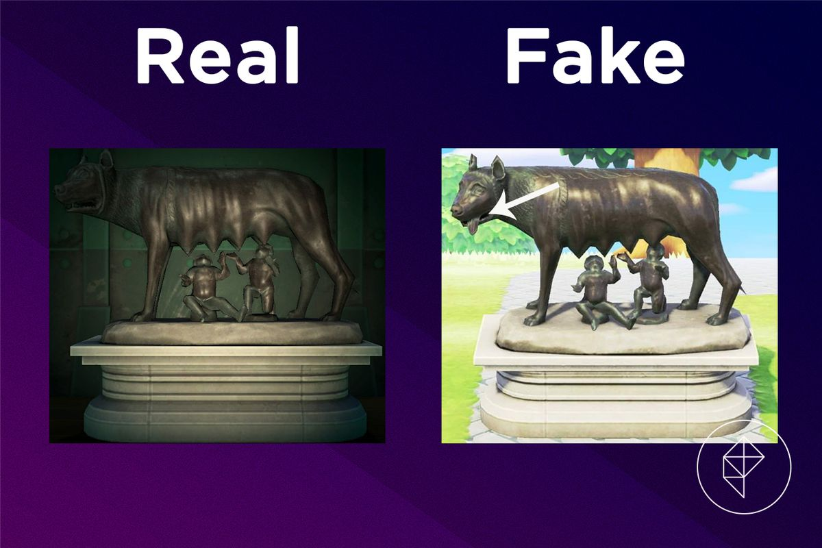 A comparison between the real and fake Motherly Statue