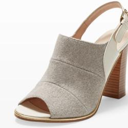"Ava sandal in heather, $149 (was $298) via <a href=""http://www.clubmonaco.com/product/index.jsp?productId=45763796"">Club Monaco</a>"