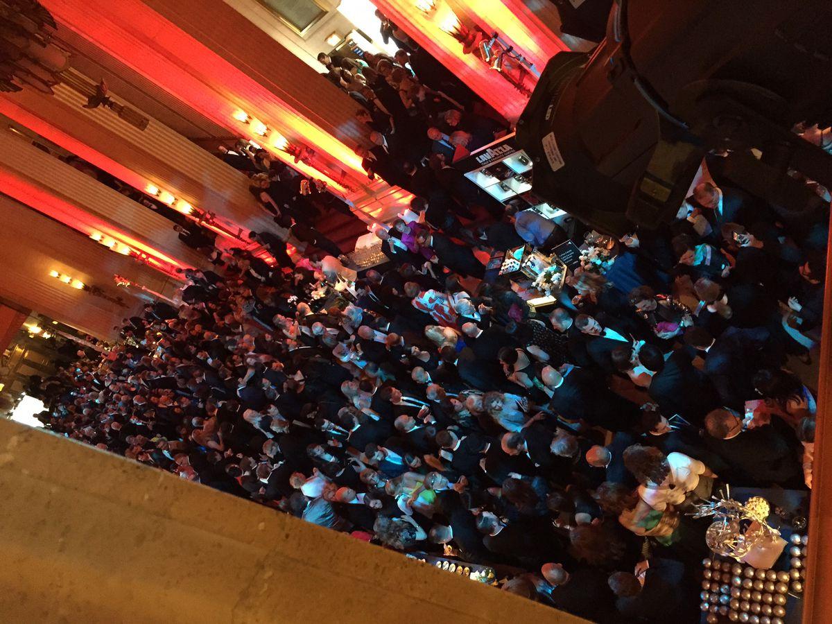 The crowds inside the Lyric Opera House