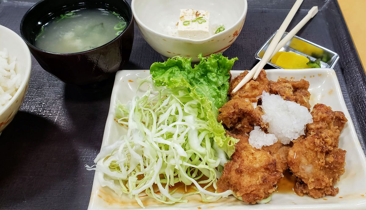 The number 23 fried chicken special at Mitsuwa market in West Los Angeles, California.