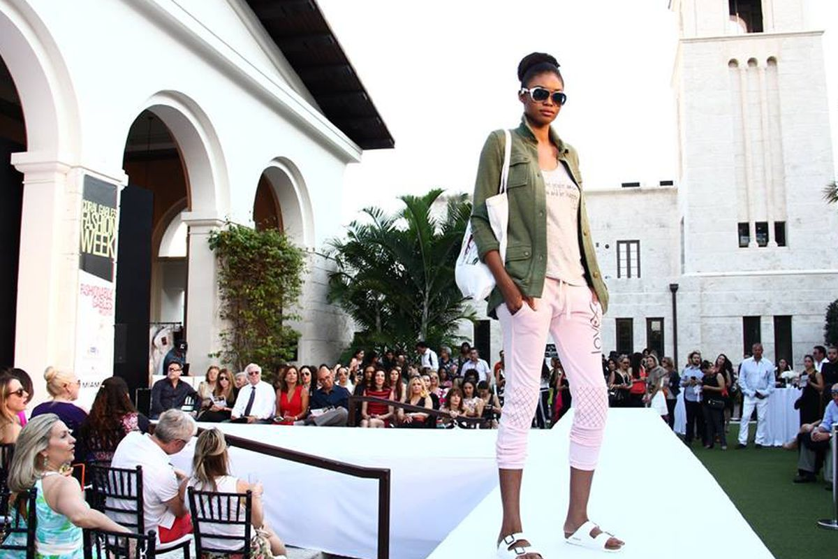 """A model on the runway during Coral Gables Fashion Week. Photo: Facebook/<a href=""""https://www.facebook.com/shopcoralgables"""">Downtown Coral Gables and Miracle Mile</a>"""