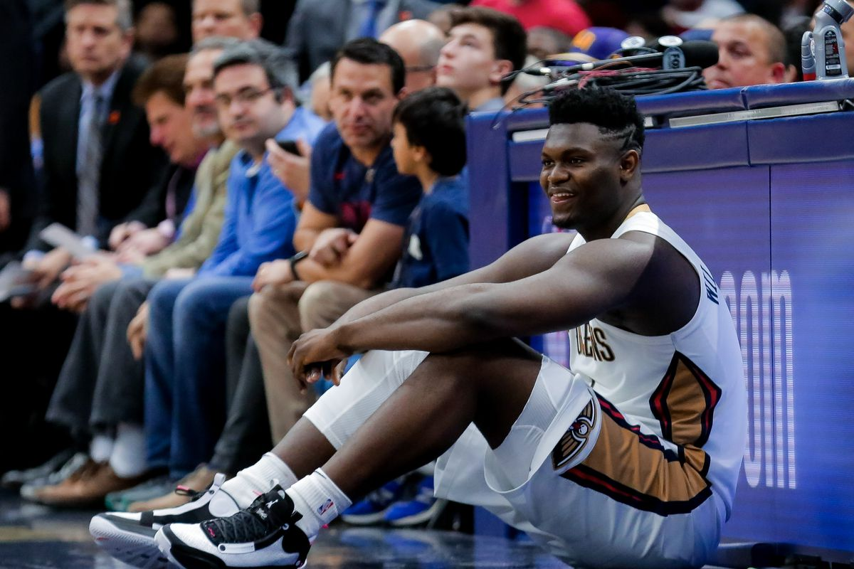 New Orleans Pelicans forward Zion Williamson waits to enter the game against the Boston Celtics during the second half at the Smoothie King Center.