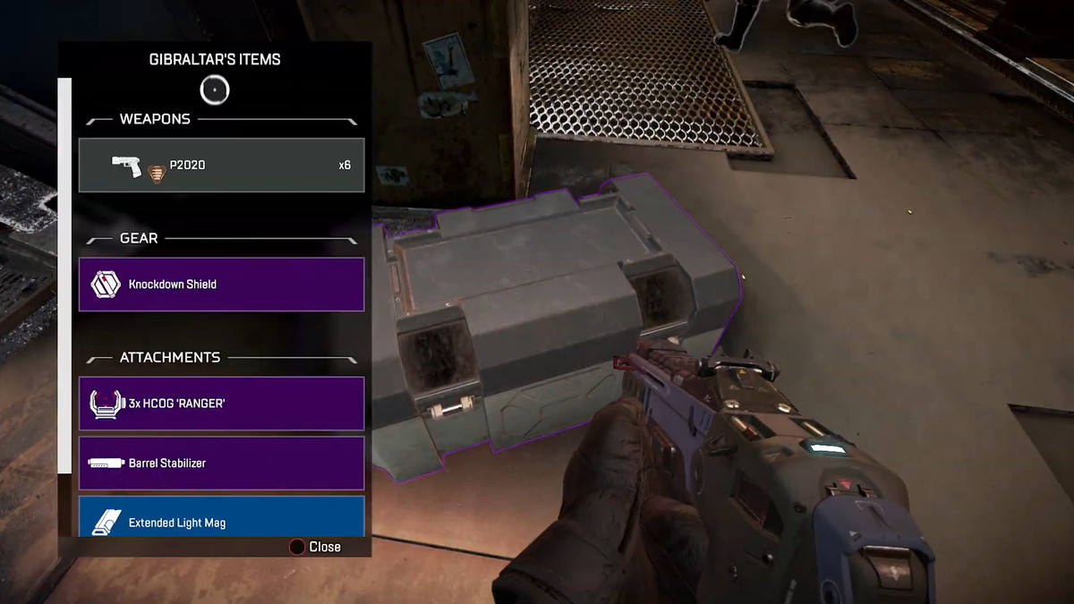 A player looks at an inventory of color coded items