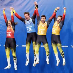 Germans celebrate gold in the luge team relay