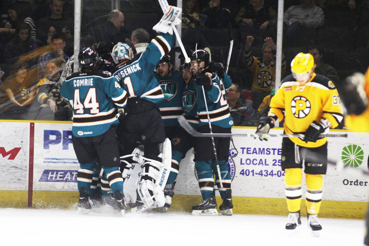 The Worcester Sharks celebrate their come from behind overtime win against the Providence Bruins Friday night at the Dunkin Donuts Center.
