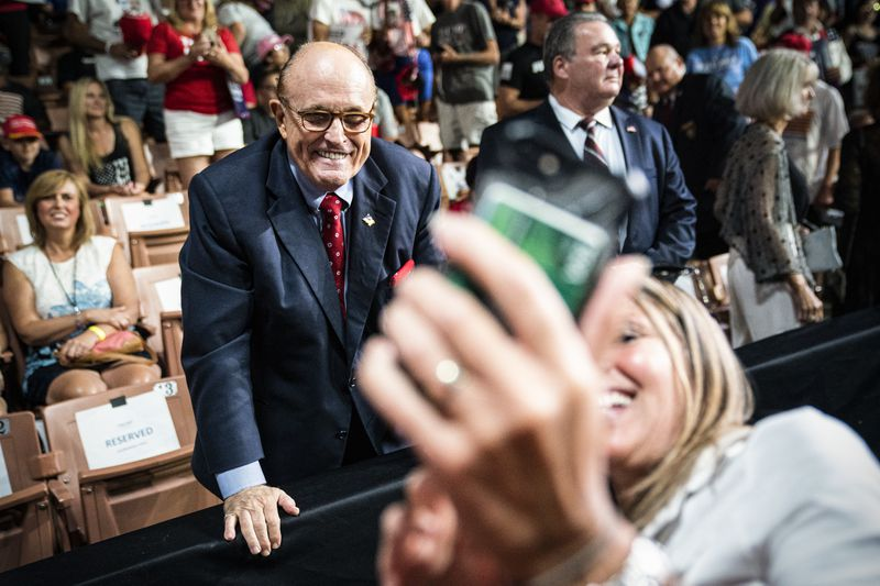 Rudy Giuliani at a Trump rally.