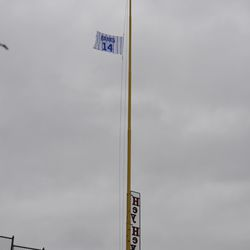 Ernie Banks flag on the right-field foul pole