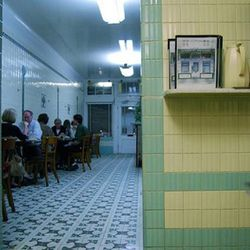 """Bright lights, vintage tile, and the best oysters ever. Casamento's via <a href=""""http://www.flickr.com/photos/axlotl/3321238899/"""">flickr</a>"""