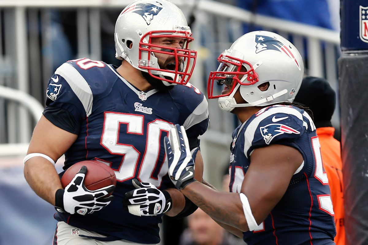 Rob Ninkovich and Dont'a Hightower celebrate another inspiring defensive play
