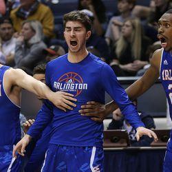 University of Texas at Arlington players celebrate after a 3-point shot against BYU in NIT basketball action at the Marriott Center in Provo, Utah on Wednesday, March 15, 2017.