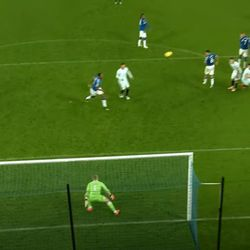 As the ball is kicked Pickford decides he's nervous about the wall and moves to his right